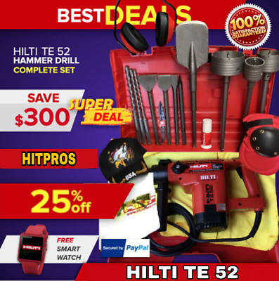 Hilti Te 52 Hammer Drill, Preowned, Free Chisels, Bits, Extras, Fast Ship