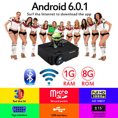 Android6.0 WiFi 4K FHD 1080P LED Projector Home Cinema Bluetooth SD/USB/HDMI 8GB