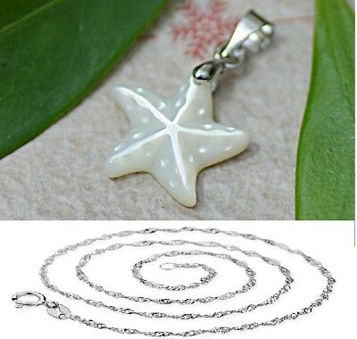 """3D 925 Sterling Silver Starfish Mother of Pearl Pendant Necklace18"""" Chain Gift"""