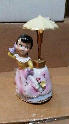 Vintage DEV Devilbiss Lady Perfume Bottle Girl w Umbrella Spray Atomizer