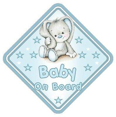 Rabbit Baby On Board Car Window Sign Non Personalised - Blue