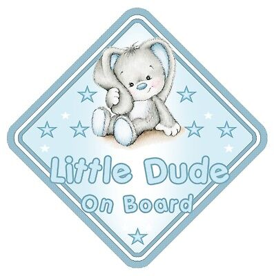 Rabbit Little Dude On Board Car Window Sign Non Personalised - Blue