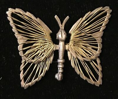 """Vintage Sterling Silver Brooch Pin Open Wire Filigree 2"""" Butterfly Signed Mexico"""