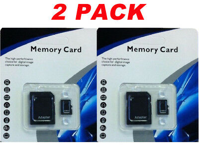 2 Pack  256GB microSD SDXC Flash TF Memory Card Class 10 Micro SD Free Adapter