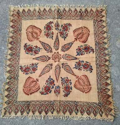 """Antique Tapestry Wall Hanging Fringed Esfahan Hand Printed Cloth Cotton 31"""" x 31"""