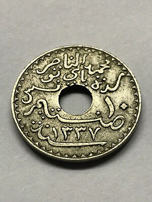 1919 Tunisia 10 Centimes VF #11581