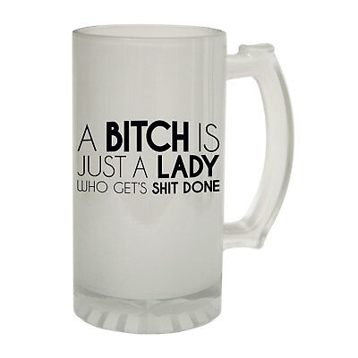 123t Frosted Glass Beer Stein - Bitch Just A Lady Rude - Funny Novelty Birthday