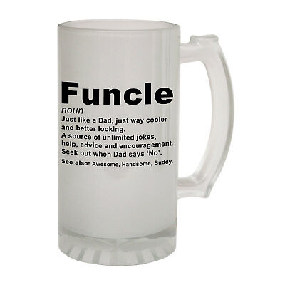 123t Frosted Glass Beer Stein - Funcle-Noun-Family - Funny Novelty Birthday