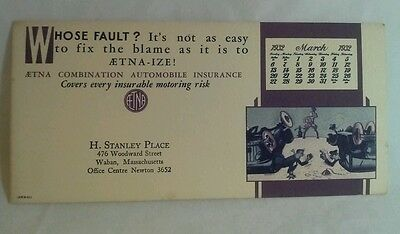 Aetna Combo Auto Ins Calendar Ink Blotter Card H Stanley Place Waban 1932