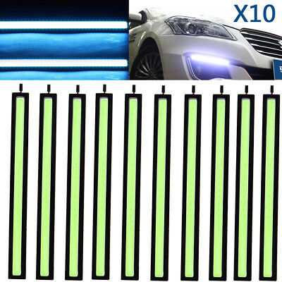 10x 12V waterproof Ice-Blue DRL LED Strip Lights Bars Camping Caravan Car COB