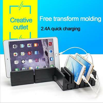Foldable USB Charging Station Charger Dock Stand Holder with Power Adapter