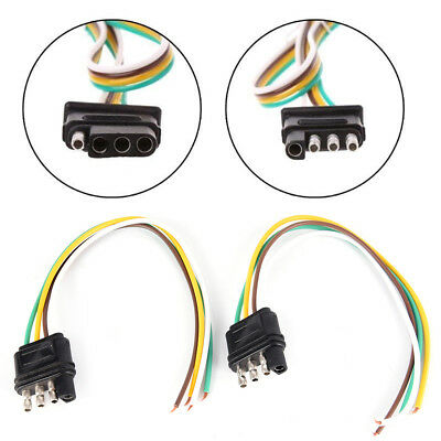 2 Trailer Light Wiring Harness Extension 4-Pin Plug 18 AWG Flat Wire ConnectorTS