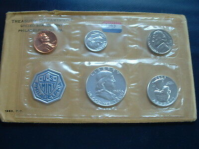 1963 US 90% Silver, Nickel, Copper Proof 5-Coin Set Flat Pack