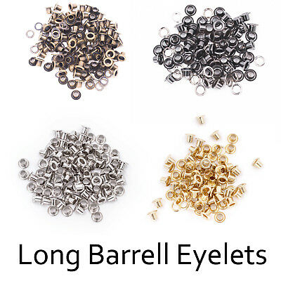 100 x 4mm-14mm Long Barrell Grommets Eyelets Washers for Leather Clothing Bags