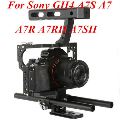 Portable Camera Video Stabilizer Cage Rig & Top Handle Grip For Sony DSLR lot PN