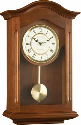 Large Wall Clock 47cm Pendulum Walnut Wooden Vintage Kitchen Living Room Antique