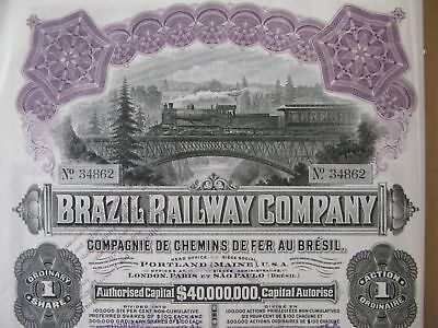 1911 BRAZIL RAILWAY COMPANY USD 100 with 40 dividend coupons + 1 talon