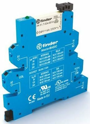 Finder 39 Series[Blank] 6V ac/dc DIN Rail Interface Relay Module, SPDT, Push In