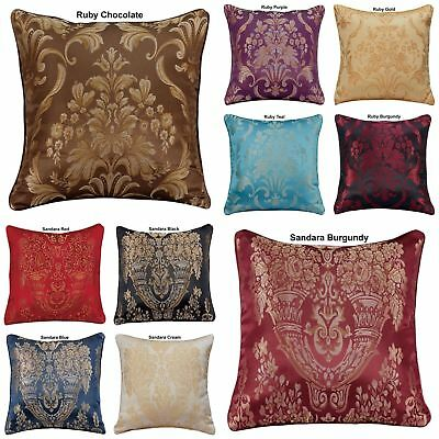 """Luxury Jacquard Floral Damask Cushion Covers OR Filled 18""""x18"""" Free P&P Deals"""