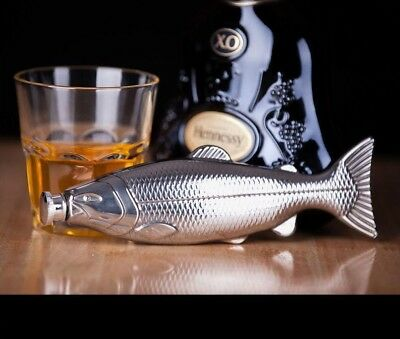Fish Shape Hip Flask Silver 4oz Alcohol Liquor Whiskey Pocket Stainless Steel