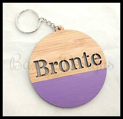 Wooden Personalised Bag Tag Key Chain Custom Adult Children Kid Gift Present