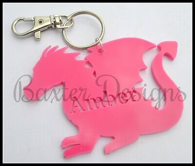 Acrylic Personalised Bag Tag Key Chain Custom Adult Children Kid Gift Present