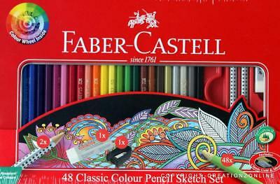 Faber Castell 48 Classic Pencil Sketch Set Includes Classic Gold & Silver New