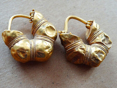 ANCIENT GOLD EARRINGS PROVENANCE CHRISTIE'S GREEK 6th-5th CENTURY BC
