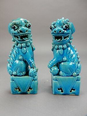 """Pair of Antique Chinese Nan King Turquoise Glazed Foo dogs CHINA mark 6.5"""""""