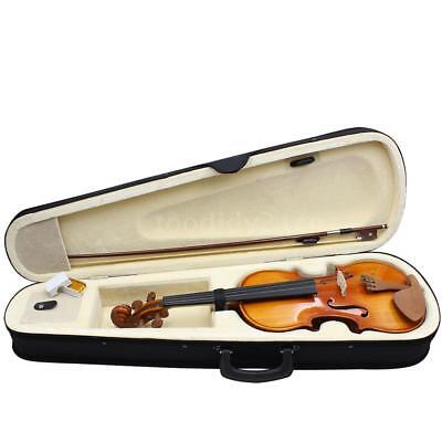 New Full Size 4/4 Natural Acoustic Solid Wood Violin Fiddle+Case Rosin Bow D7L0