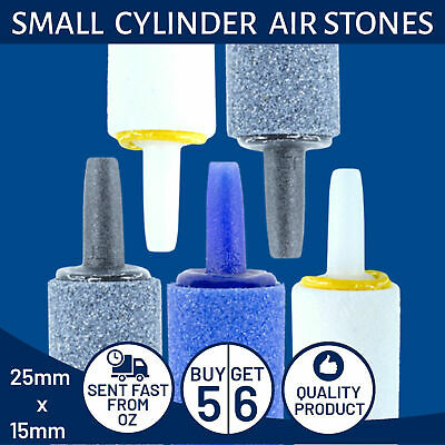 Cylinder Air Stones For Aquarium And Fish Tank Bubbles - Lot Of 5 (25mm x 15mm)