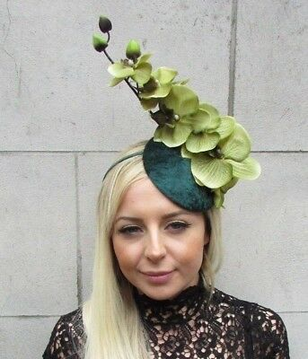 Bottle Dark Light Green Orchid Flower Fascinator Races Ascot Hat Hair Vtg 5732