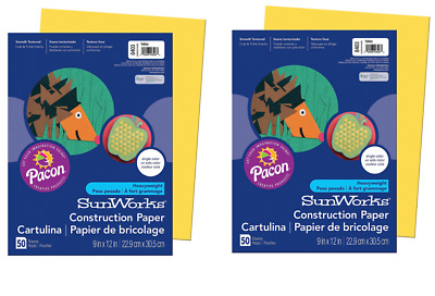 """2 Pack - Pacon SunWorks Construction Paper, 9"""" X 12"""", 100 Sheets Total, Yellow"""