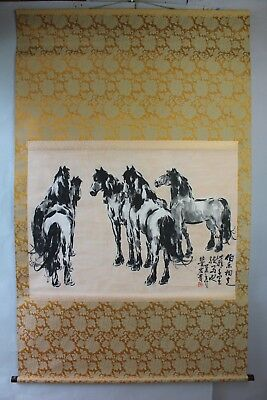 "Japanese hanging scroll Handpainted on Paper  ""Horses"" Large Size 41 x 67inch"