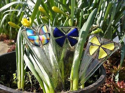 3 X Hand Made Fused Glass Garden Ornaments Butterflie Potted Plants  Decoration,