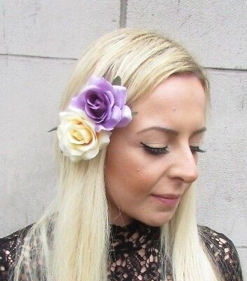 Double Yellow Light Purple Lemon Rose Flower Hair Clip Fascinator 1950s 5736