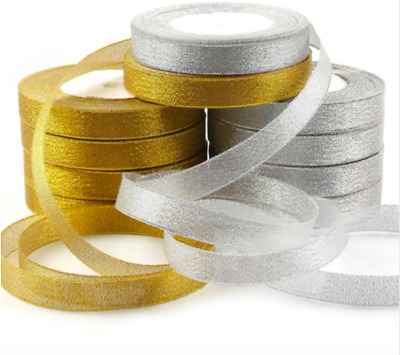 Organza Berisfords Lame Sparkle/Glitter-RibbonGolden and Silver12mm,25mm &40mm