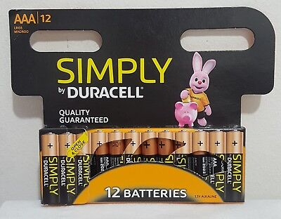12 x Duracell Simply AAA Alkaline Batteries LR03 MN2400 1.5V Long Expiry Date
