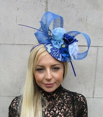 Royal Light Blue Rose Flower Feather Hat Fascinator Races Wedding Hair 5740