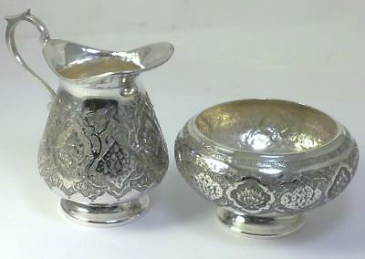 Vintage  Solid  Silver Cream Jug & Sugar Bowl – Middle Eastern / Persian  (193g)