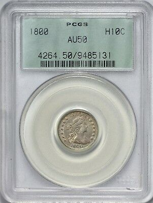 1800 Draped Bust Half Dime PCGS AU50 - Old Green Label Holder