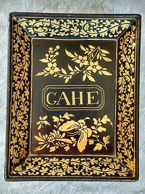 Early 19th century Chinese lacquered papier mache tray From French games box