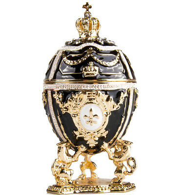 Gold Lions on Black Faberge Egg Made in Russia Jewelry Box Gift Box