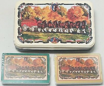 Vintage Anheuser Busch Budweiser Beer Playing Cards w/ Tin - Cards R Sealed RARE