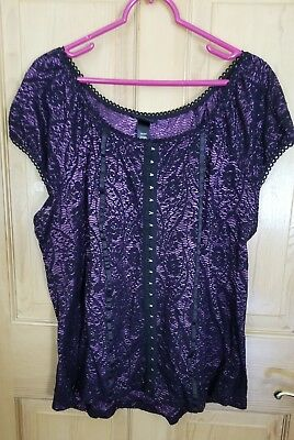 217a3dc8687 Lane Bryant Size 18/20 Sheer Floral Flutter Sleeve Embellished Waist Tunic  Top.