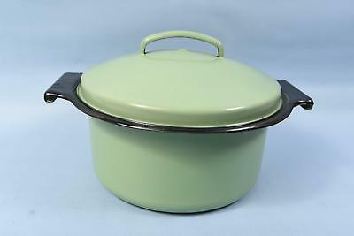 Antique Avocado Green Enamel Ware Stock Pot Vintage Kitchenware
