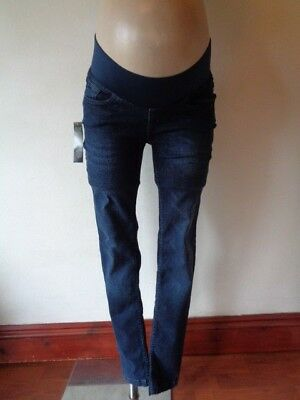 Red Herring Maternity Indigo Blue Under Bump Skinny Slim Fit Jeans Size 10 New