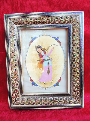 Pretty Picture__Miniature Painting__Making Music GIRL__BEAUTIFUL FRAME __