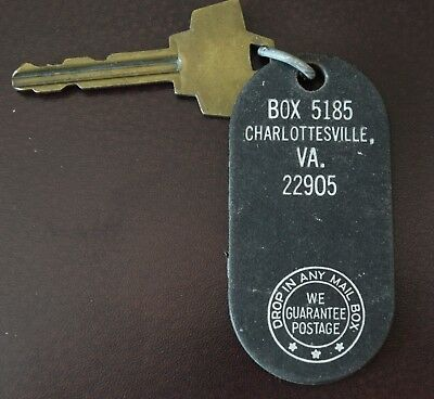 Vintage Charlottesville, Virginia Hotel Motel Room Key & Fob