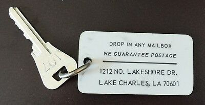 Vintage Lake Charles, Louisiana Hotel Motel Room Key & Fob  Room #107